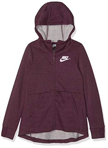 Nike Mädchen G NSW FZ PE Sweatshirt, Bordeaux/Heather/pink Foam, XL