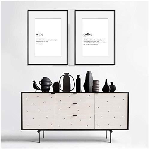 YIBINGLI Moderner Wein Kaffee Definition Küche Wandkunst Drucke Leinwand Gemälde Schwarz-Weiß-Bilder Poster Geschenk Wohnkultur 40x60cm x2 Ungerahmt