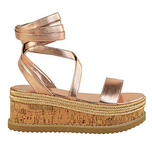 Plataforma para Mujeres Sandalias con Tiras PU Cuero Casual Correa del Tobillo Pisos Zapatos con Punta Abierta Sandalia de cuña