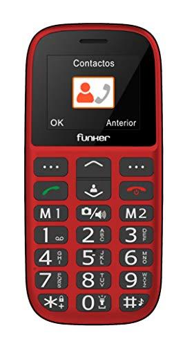 Teléfono Móvil Funker - C65 Rojo Easy Plus- para Personas Mayores con botón SOS y Base cargadora. Cámara de Fotos y Agenda con Fotocontactos. …(Rojo)