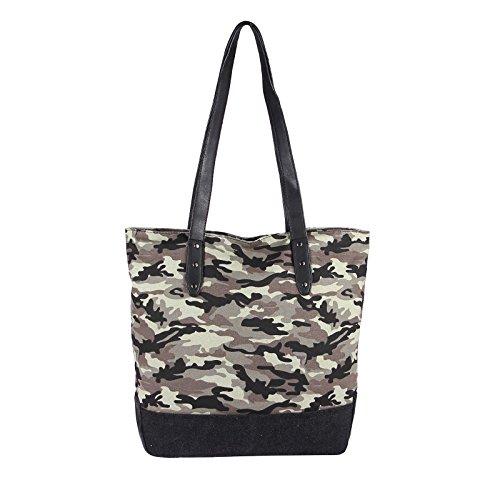 OBC sportliche Damen Stern Tasche DIN-A4 Henkeltasche Handtasche in 2 Varianten Canvas Baumwolle Crossover Schultertasche Umhängetasche Shopper (Army 42x38x13 cm)