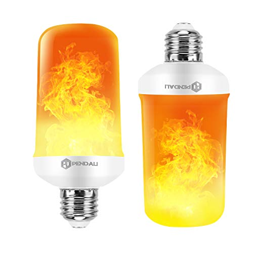 LED Flame Effect Fire Light Bulbs, 7W-4 Modes with Upside Down Effect, pendali E26 Base LED Bulb, Vintage Flaming Flickering Atmosphere Lamps Decoration for Christmas Home/Outdoor/Bar/Party (2pcs)
