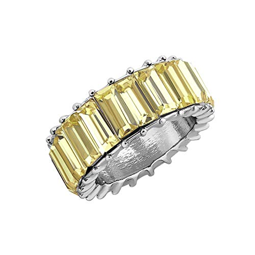 Richo Rainbow Ring for Women Geometric Rainbow Crystal Band Stacking Ring Gorgeous Ring