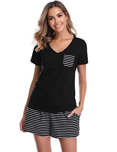 Vlazom Pijamas para Mujer Verano 95% Algodón de Suave y Transpirable, Ropa de Dormir de Camiseta con Pantalones Cortas S-XXL