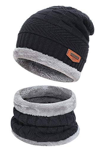 Men's 2-Pieces Winter Beanie Hat Scarf Set Warm Knit Hat Thick Fleece Lined Winter Cap Scarves for Men Women Black
