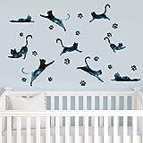 Cielo stellato gatto 9 camera per bambini soggiorno TV sfondo decorazione adesivi murali rimovibili 40 * 60 cm
