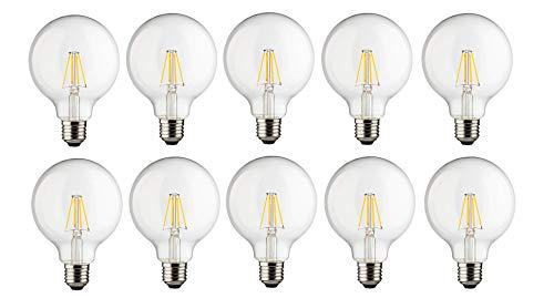trendlights LED LED-Lampe 6Watt (60Watt Halogenbirne Glühbirne) Saves 90% Energy E27 G80 klar Globe 6W-60W 806lumen 300° Abstrahlwinkel nicht dimmbar 15000h warmweiß 2700k (10 pieces)