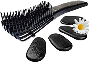 FlexiGlide Hair Brush (Detangler for Coily Kinky Curly Wavy Straight) Detangle Black Natural Hair, Afro, Texlaxed, Relaxed, 4C, 4B, 4A, 3C, 3B, 3A, 2C, 2B, 2A, Wet Brush Detangling (Onyx Black)