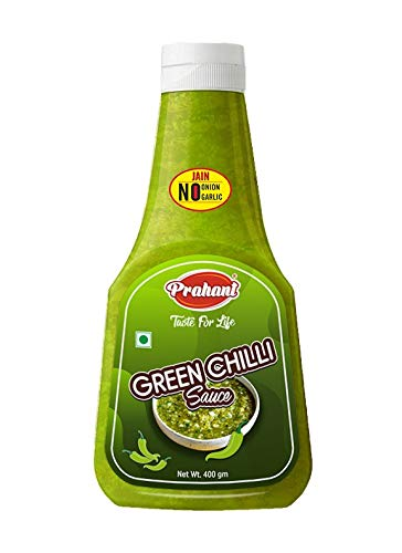 PRAHANT Green Chilli Sauce - 400 gm [Swaminarayan -No Onion ,No Garlic, Pack of 1]