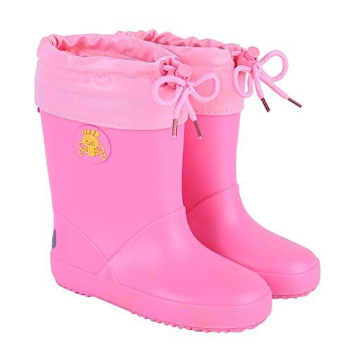Unbekannt FRF Regenstiefel- wasserdichte und samtwarme Regenstiefel für Kinder im Freien, Rutschfeste Gummistiefel der Grundschule (Farbe : Pink B, größe : 20 Yards)