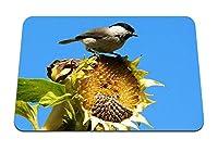 22cmx18cm マウスパッド (すずめ鳥ひまわり空葉座る) パターンカスタムの マウスパッド