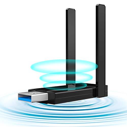 1300Mbps WLAN Stick USB WLAN Adapter PC 3.0 WiFi Dongle 2.4GHz/5GHz High Gain Dual Band 5dBi Antenna Wireless Network Adapter for Desktop, Laptop WinXP/7/8/10/vista/Linux