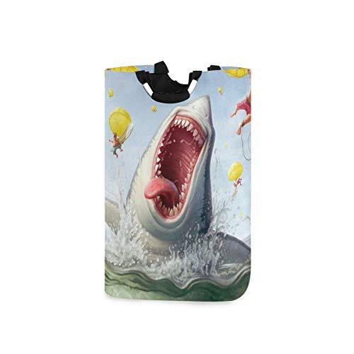 N\A Wäschekorb Faltbarer Eimer kollabiert Wäschekorb Lustiger Hai-Waschbehälter für Heimorganisator Kinderzimmer Aufbewahrung Babykorb Kinderzimmer