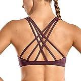 CRZ YOGA Sujetador Deportivo para Mujer Sujetador de Yoga con Tiras con Relleno Extraíble Violeta Claro XS