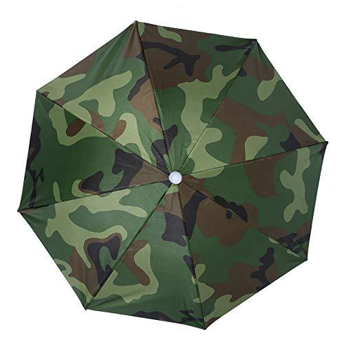 65cm Regenschirm Kopf Winddicht Kopfmontierter Regenschirm Hut Faltbarer Regenschirm für das Angeln im Freien Landwirtschaft Gartenarbeit(Tarnung)