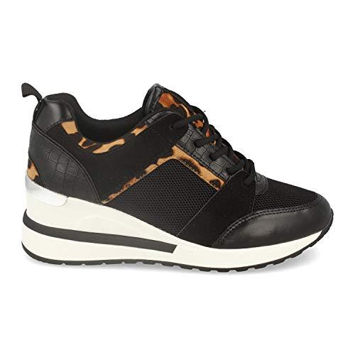 Zapatillas Mujer de Estilo Casual, con Cuna, Estampado de Leopardo y Cierre de Cordones Primavera Verano 2020. Talla 38 Negro