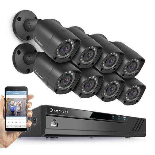 Amcrest Full-HD (AMDV10818-8B-B) 1080P 8CH Video Security System w/ Eight 2.0MP (1920TVL) Outdoor IP67 Bullet Cameras, 98ft Night Vision, Hard Drive Not Included (Black)