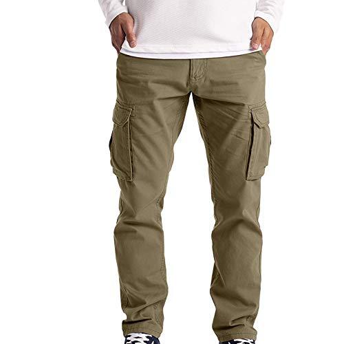 STRIR-Moda Pantalones de Deporte para Hombre, Jogger Deportivos Pantalón Cargo para Hombre Pantalones Jogging Chándal de Algodón, con Bolsillos Seis (Caqui, XXL)