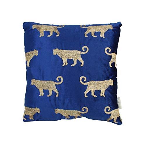 Engelnburg hoogwaardig sierkussen sofakussen kussen luipaard fluweel blauw 45x45cm