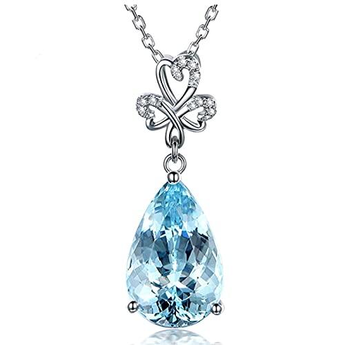 Collares con colgante de cristal azul de piedras preciosas de aguamarina para mujer, joyería de cadena de gargantilla de tono dorado blanco con diamantes