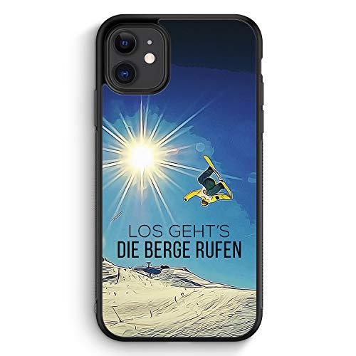 Los Geht's Die Berge Rufen Snowboard - Silikon Hülle für iPhone 11 - Motiv Design Sport Schön - Cover Handyhülle Schutzhülle Case Schale