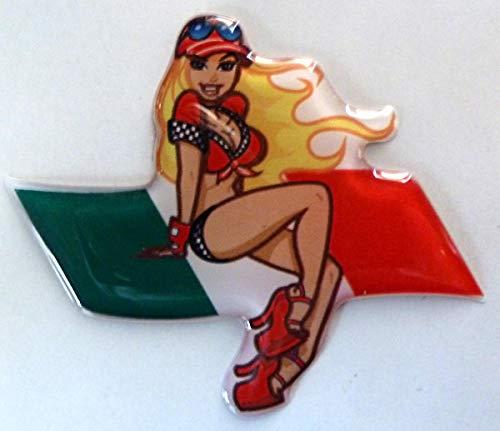 3D Doming Aufkleber Pin up blond-rot Italien