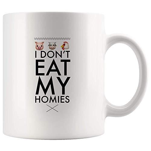 I Don't Eat My Homies Unique Coffee Mug -Funny Gift For Vegan Vegetarian-Animal Lovers-Pig Cow Chicken 11oz White Coffee Mugs