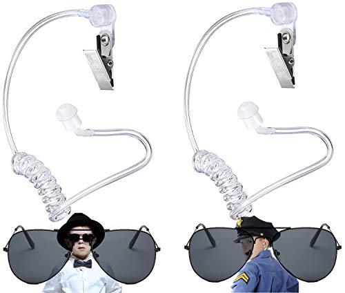 Broadsheet Spy Gears Spy Gadgets, Spy Kit Secret Service Earpiece, Playing Cosplay Toy Includes Earpiece Earplugs Acoustic Tube Headset and Sunglasses, Ring Bearer Proposal Agents Earpiece(4 Pieces)