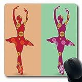Luancrop Mousepads Rosa Tanzen-Ballerina-Tänzer-lila Mädchen-Ballett verzierte ethnisches exotisches Entwurfs-rote rutschfeste Spiel-Mausunterlage Gummi-längliche Matte