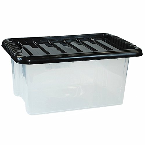CrazyGadget® Large Big Plastic Storage Clear Box with Lid Strong Stackable Container Made In U.K. - Set of 5 (45L)