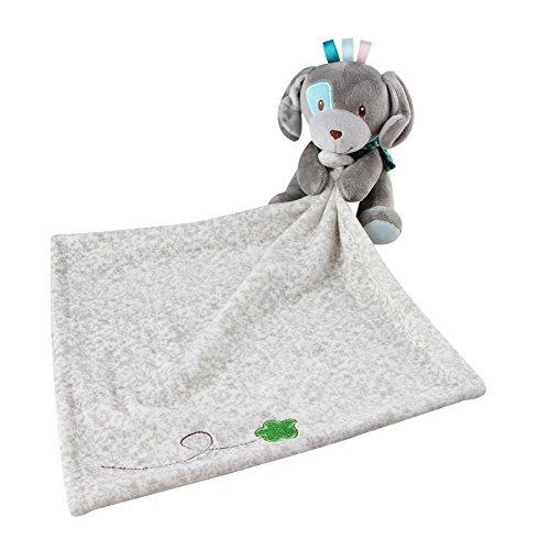 INCHANT Schöne Sicherheitsdecke 30 x 29 cm Stofftier-Baby-Blankie für Mädchen oder Jungen, Tröster Decke Schnuller Sicherheit Blanket (Gray Dog)