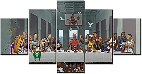 5 Piezas Pintura Arte De La Pared del Jugador De Baloncesto De La NBA JOR-Dan O'N-Eill Jam-Es Dur-Ant KO-Be The Last Supper Posters 5 Piezas Decoración Moderna del Hogar