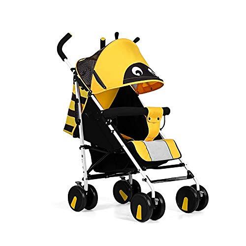 GRHLYR Cochecito de paraguas ligero Silla de paseo plegable de verano con respaldo ajustable Cochecito for niños desde el nacimiento hasta los 3 años, amarillo