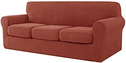 CHUN YI 4 Pieces Stretch Sofa Cover for Dogs,3 Seater Settee Couch Slipcover with 3 Separate Cushion Replacement Coat,Small Checks Spandex Jacquard Fabric,Large,Brick