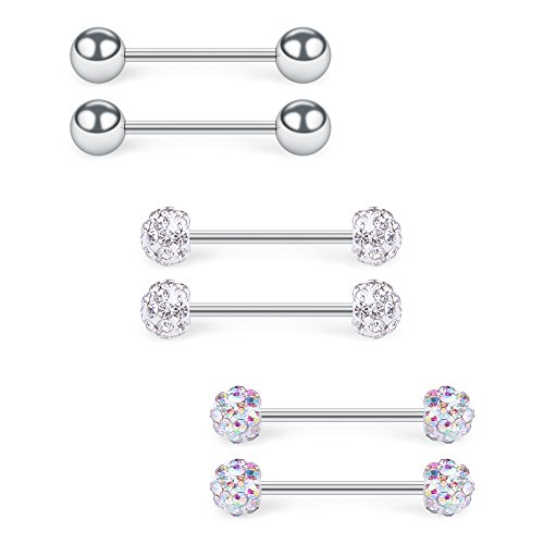 SCERRING 16G 9/16Inch 316L Stainless Steel CZ Nipple Ring Tongue Barbell Rings Bars Body Piercing Jewelry for Women 6PCS - Silver
