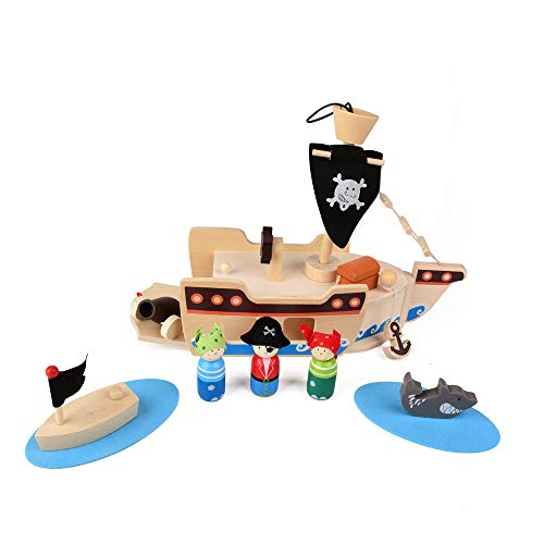 ewtshop Barco pirata de madera para jugar