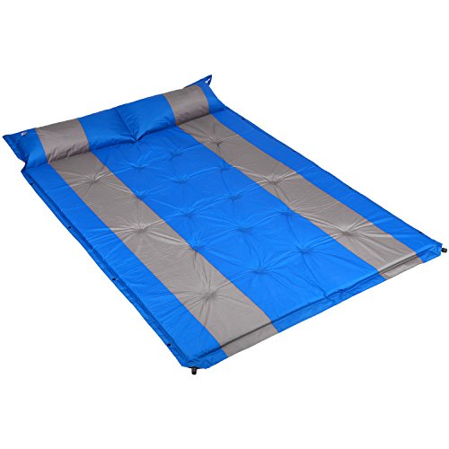 Cido Double Inflatable Sleeping Pad, Self-Inflating Air Sleeping Pad, Quick Flow Valve with Attached Inflatable Pillow for Outdoor Camping and Backpacking