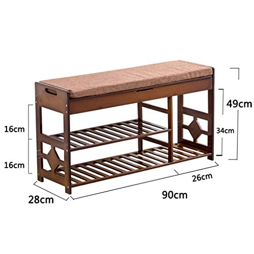 ZHAOYONGLI Stolls Storage Benches Storage Bench Shoe Stool Double Partition and Seat Cushion Shoe Storage Unit Table 3 Sizes Shoe Bench (Color : Storage stoo, Size : 902849cm)