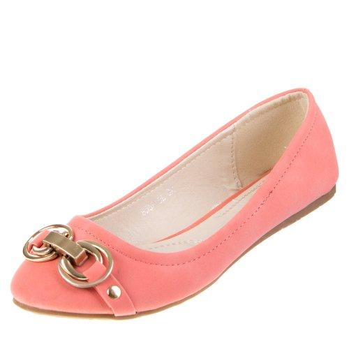 Damen Schuhe, Ballerinas, Nieten DEKO Komfort Pumps, 8567-BL, Synthetik in hochwertiger Leder Optik, Rosa, Gr 39