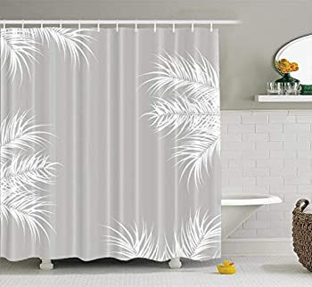 LILYMUA Light Gray Shower Curtain Tropical with White Palm Leaves and Plants on Grey Waterproof Polyester Fabric Bathroom Shower Curtain Art Print 72X78 Inch Bathroom Decor Curtains Home Decor