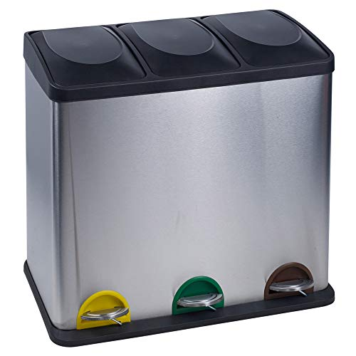 URBNLIVING Contenedores de Basura de Reciclaje de Acero Inoxidable de 40 a 60 l con 2 o 3 Compartimentos, 3 Compartments