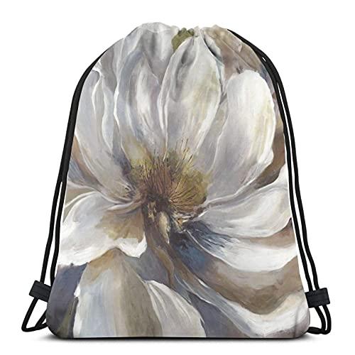 Lmtt Mochila con cordón Mochila deportiva Mochila de viaje Bolsa de viaje Flor floral gris