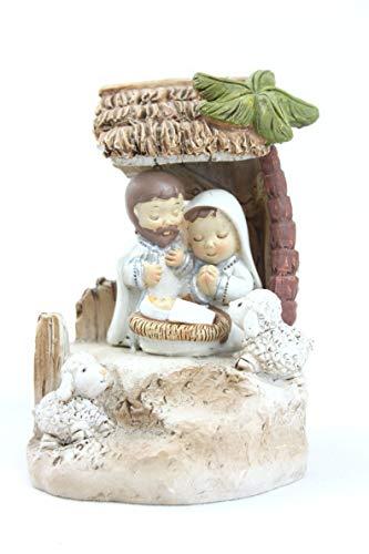 Generico Weihnachtskrippe aus Kunstharz gemalt mit Dach und Palma 8,5 cm Mit Maria an Mani Giunte und Josef überrascht EIN Bastel.