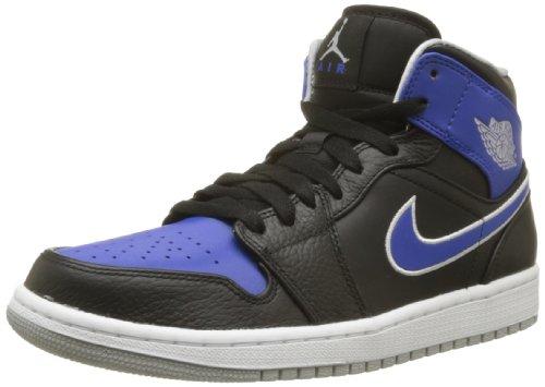 Nike Mens Air Jordan 1 Black/Mtlc Platinum/Game Royal Basketball Shoes 11 Men US