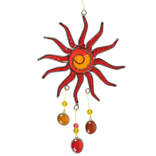 HAB & GUT -HA002- Windspiel ROT GELB, Sonne, 30 x 14 cm, Mobile zur Deko von Fenster, Terrasse, Balkon Suncatcher