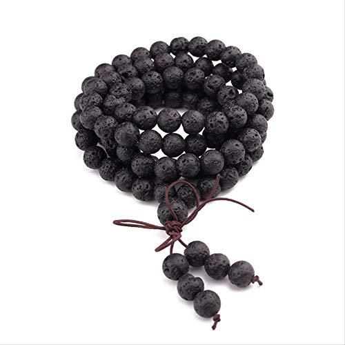 CEXTT 108 Piedra Natural Buda Perlas de oración Mala Pulseras Budista Rosario Collar