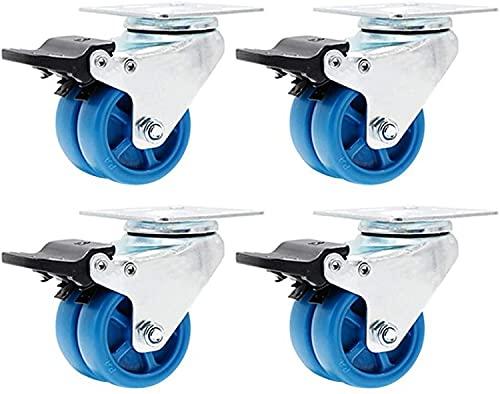HCYY Ruedas Ruedas giratorias con Frenos Ruedas Resistentes Ruedas silenciosas para Muebles (1.5'/ 2') Ruedas Dobles Juego de 4 Ruedas Capacidad de Carga 440 LB / 661 LB