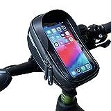 Velmia Fahrrad Lenkertasche [Wasserdicht] - Fahrrad Handyhalterung ideal fürs Navi - Fahrradtasche Lenker mit/ohne Fingerabdrucksensor-Unterstützung für simples Entsperren während der...