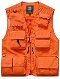 Flygo Men's Casual Lightweight Outdoor Travel Fishing Vest Jacket Multi Pockets (Large, Orange)