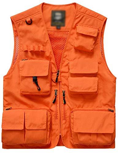 Flygo Men's Casual Lightweight Outdoor Travel Fishing Vest Jacket Multi Pockets (X-Large, Orange)